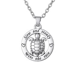 """""""Slow and Steady Wins The Race"""" with Cute Turtle Pendant Silver Necklace"""