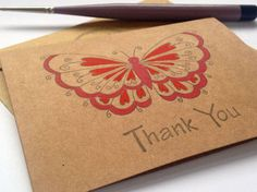 Red Butterfly Mini Thank you Cards - Hand Painted by HandmadePeaCards