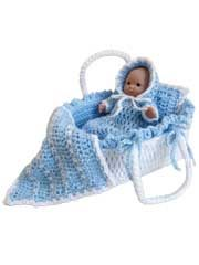 Moses Basket Baby Crochet Pattern Pack from AnniesCatalog.com -- Pattern includes instructions to complete a bumper lining, a lightly stuffed mattress and miniature afghan and pillow.