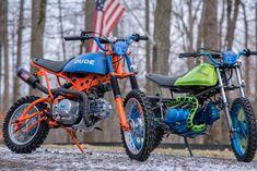 Custom Pitbikes by Industrial Moto Custom Motorcycles, Custom Bikes, Custom Cars, Eletric Bike, Yamaha Cafe Racer, Scooter Custom, Cafe Racer Style, Pocket Bike, Drift Trike