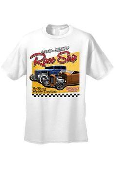 Men's T Shirt Mid-Way Race Strip Short Sleeve Tee, Size: XXXXX-Large, White
