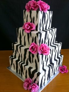 Zebra Wedding cake with hot pink roses! Pretty if the black was the shiny charcoal gray! Gorgeous Cakes, Pretty Cakes, Cute Cakes, Amazing Cakes, Unique Cakes, Creative Cakes, Fondant Cakes, Cupcake Cakes, Zebra Cakes