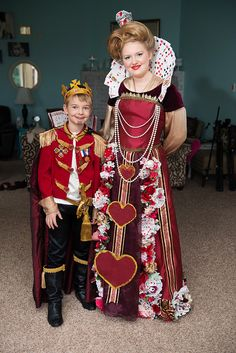 DIY King & Queen of Hearts costumes made from thrift store finds