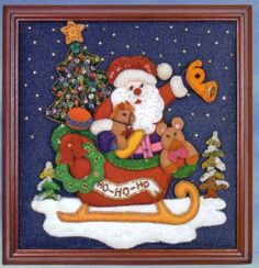 cuadro trineo santa 40 Christmas Crafts, Banner, Santa, Felt, Teddy Bear, Kids Rugs, Quilts, Knitting, Toys