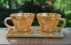 Items similar to Fire King Peach Luster Tea Cup Set on Etsy Vintage Tableware, Vintage Plates, Vintage Glassware, Vintage China, Vintage Decor, Antique Dishes, Vintage Dishes, Vintage Kitchen Accessories, Vintage Fire King