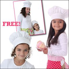 "downloadable pattern: chef hats (seizes 12-25"" head circumference); apron"