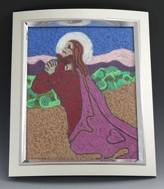 Jesus Mosaic:  (Colored Yarn, Wooden Frame - designed and created by Karen J Lauseng).