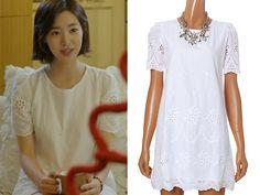 Jae Hee's Plastic Island White Eyelet Lace H-Line Dress