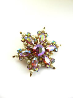 Super sparkly Vintage Snowflake/Star brooch aurora by RAKcreations