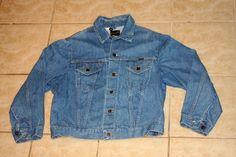 Wrangler Blue Denim Jean Jacket Size 46 / Large Vintage 1970s by nodemo