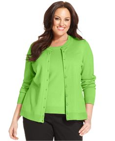 Charter Club Plus Size Long-Sleeve Cardigan - Sweaters - Plus Sizes - Macy's