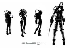 View an image titled 'Big Sister Concept Art' in our BioShock 2 art gallery featuring official character designs, concept art, and promo pictures. Game Concept Art, Character Concept, Character Art, Character Design, Bioshock Rapture, Bioshock Art, Bioshock Series, Bioshock Infinite, Thumbnail Sketches