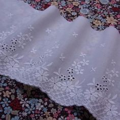 Antique Off White Lace Organza Embroidered Sewing Trim Baby Craft Heirloom Dolls