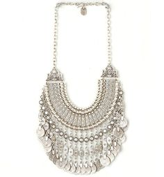 Buy Coin Charms Engraved Bib Necklace at Style Moi