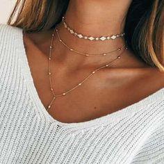 jewerly / gold / necklace / doré / or / chocker / collier / bijoux / summer vibes Cute Jewelry, Boho Jewelry, Jewelry Box, Jewelery, Jewelry Accessories, Fashion Accessories, Jewelry Necklaces, Fashion Jewelry, Fashion Necklace