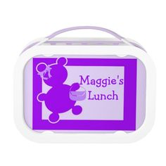 Customize your child's lunch box with the Fancy Teddy Bear in Purple!