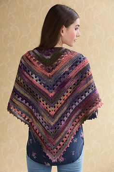 Simple Crochet Shawl. Free crochet pattern. This crocheted shawl exudes a retro inspiration in a bright colorway of NAVAJO.