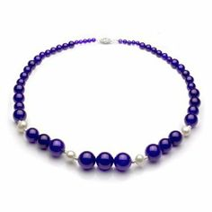"4-14mm Graduated Purple Jade and 8-9mm White Cultured Freshwater Pearl Necklace 18"" Length with 3mm Sterling Silver Beads and Filigree Clasp."