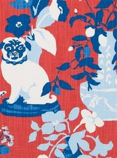 Madcap Cottage Manor Born Cherry - Modern twist of traditional Chinoiserie fabric with conversational dog print. Colored in red background with blues & white. Perfect for curtains, tables or upholstery. Asian Fabric, Red Fabric, Pattern Images, Pattern Design, Woodland Living Room, Chinoiserie Fabric, Red Color Schemes, Bridal Fabric, Fabric Animals