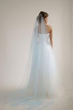 Blue cathedral wedding veil with blusher #wedding #veil by HoneyPieBridal