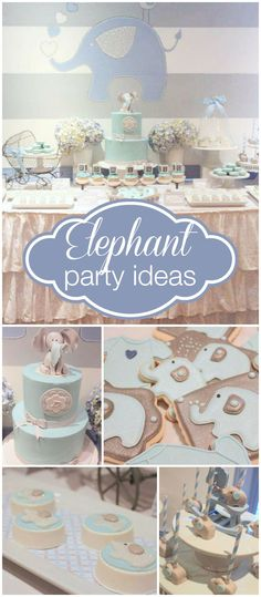This fun elephant  baby shower has cake pops, chocolate Oreos, and cupcakes! See more party ideas at CatchMyParty.com!
