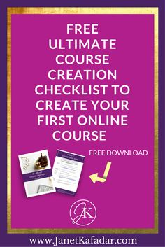 Do you want to create your online course but don't know where to start? Or does the idea of creating an online course fill you with overwhelm and you put it on next weeks to do list? Click the link below to grab your step-by-step course creation checklist to help you create your first online course in record time. > http://www.janetkafadar.com/checklist