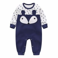 Fox and Drops Navy Cotton Jumpsuit for Baby Unisex