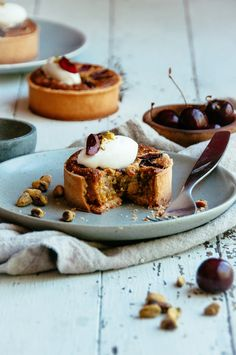 Cherry, Pistachio and Almond Tarts new twist on a frangipane recipe bake for afternoon coffee or a posh dessert Tart Recipes, Sweet Recipes, Baking Recipes, Dessert Recipes, Sweet Pie, Sweet Tarts, Just Desserts, Delicious Desserts, Yummy Food