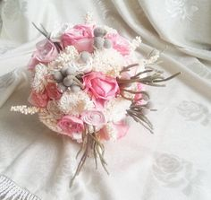 Cream pink rustic wedding BOUQUET natural Ivory by MKedraWedding