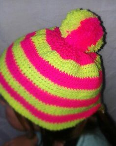 Children's woolly hat  stripey hat  winter hat  by CraftyMillerJM  Kids hats with beautiful high visibility colours. Safety on the colder and darker nights.