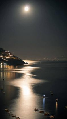 Moon Lit Evening ~ Positano, Italy (One of these days. I will get to Positano! Beautiful Moon, Beautiful World, Beautiful Places, Beautiful Pictures, Beautiful Scenery, Wonderful Places, Beautiful People, Amazing Photos, Shoot The Moon