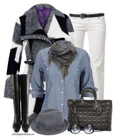 """""""White Jeans For Winter"""" by honkytonkdancer ❤ liked on Polyvore featuring MET, Desigual, Christian Dior, Silver Jeans Co., Denis Colomb, MANGO, Forever 21, whitejeans, denimshirt and DiorBag"""