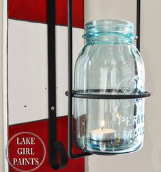 Lake Girl Paints: Red and White Striped Water Ski with Mason Jar Lantern