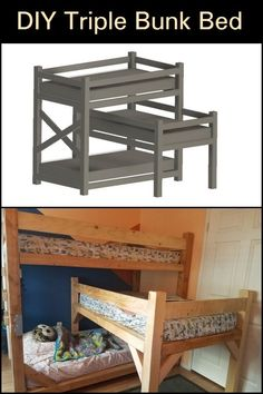 Learn how to build this triple bunk bed for the kids! Triple Bunk Beds, New Business Ideas, Easy Diy Projects, Household Items, Cool Things To Make, Kids Bedroom, Small Spaces, Outdoor Decor, Carpenter