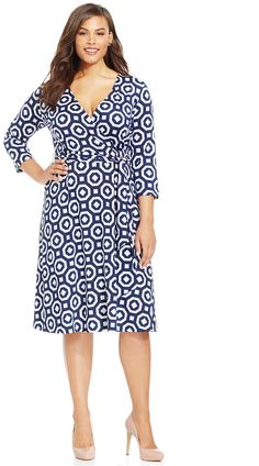 Back in stock!  I love this dress! Plus Size Printed Wrap Dress