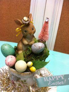 Easter vintag bunny bottle brush tree easter eggs by madigansbbfl