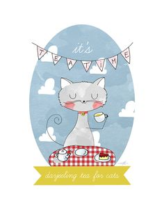 Darjeeling tea for cats A4 illustration print by LaurynGreen