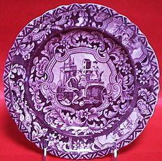 """Harp"" by R. Stevenson, printed in underglaze purple, Staffordshire circa 1830. This pattern is mainly seen in dark blue."