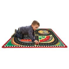 18. Melissa and Doug Round the Speedway Race Track Rug and Car Set