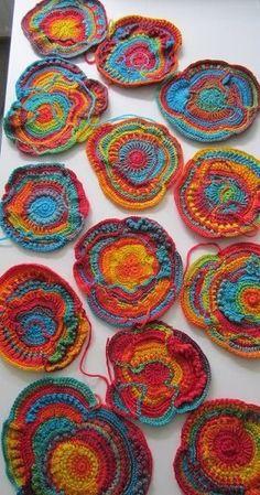 Freeform Crochet Scrumble Patterns – Freeform crochet is a way of making a serie… – Handwerk und Basteln Free Form Crochet, Art Au Crochet, Crochet Motifs, Crochet Squares, Love Crochet, Irish Crochet, Crochet Flowers, Crochet Stitches, Fabric Flowers