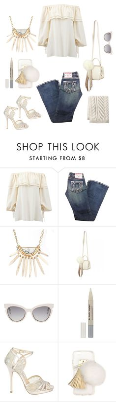 """Off shoulders contest"" by im-karla-with-a-k ❤ liked on Polyvore featuring Michael Kors, True Religion, The Volon, Fendi, L'Oréal Paris, Jimmy Choo, Ashlyn'd and Lands' End"