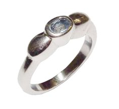 Stamped 925 Sterling Silver & Blue Gem Set Fancy Single Stone Ring -UK Size L1/2