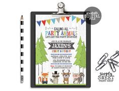 Woodland Animal Birthday Party Invite Invitation First One Tent Teepee Banner Tree Fox Raccoon Deer Squirrel Royal Blue Green Orange Red DIY First Birthday Parties, Boy Birthday, First Birthdays, Birthday Ideas, Orange And Turquoise, Green And Orange, Birthday Party Invitations, Baby Shower Invitations, Thing 1