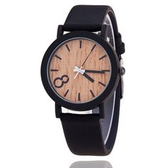 f8832b1d40d Dámské i pánské unisex moderní hodinky s motivem dřeva – černý pásek –  SLEVA 50 %