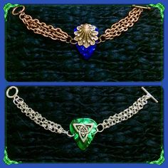 Chain Toggle guitar pick bracelets - copper blue clamshell, silver green Celtic knot $28 each - purchase thru website