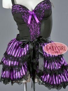 Purple & Black Striped Bustle Skirt with Ribbon Ties