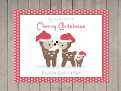 Personalized Christmas card  deer family door SophiesLoveBirds