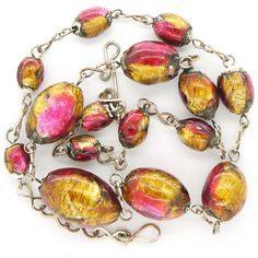 Vintage Opalescent Pink & Gold Foil Two Tone Glass Bead Necklace