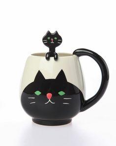 Black Cat Cup & Spoon Set