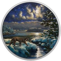 Pure Silver Glow-In-The-Dark Coin - Animals in the Moonlight Series: Cougar - Mintage: Canadian Coins, Colouring Techniques, Old Coins, Canadian Artists, Coin Collecting, Gold Paint, Silver Coins, Shades Of Blue, Moonlight